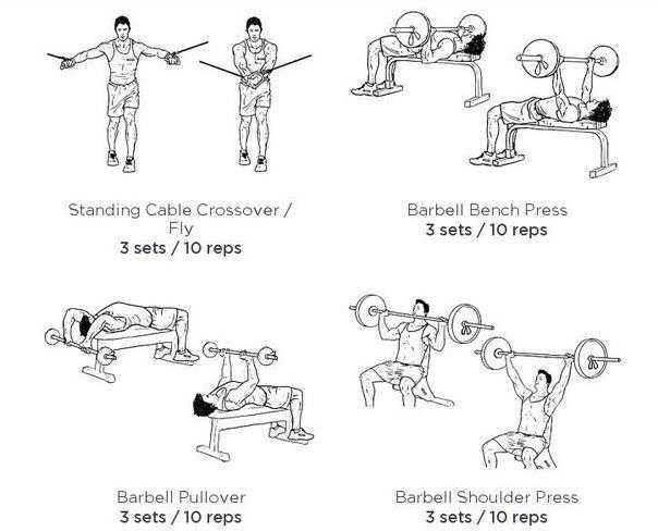Программа на массу суперсетами для грудных и спинных