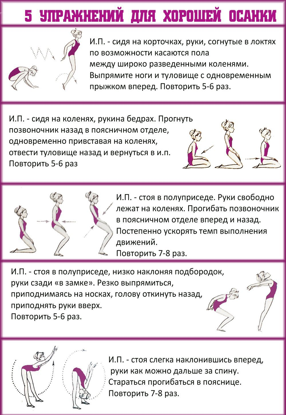 Упражнения для красивой осанки: топ-16 лучших упражнений + советы