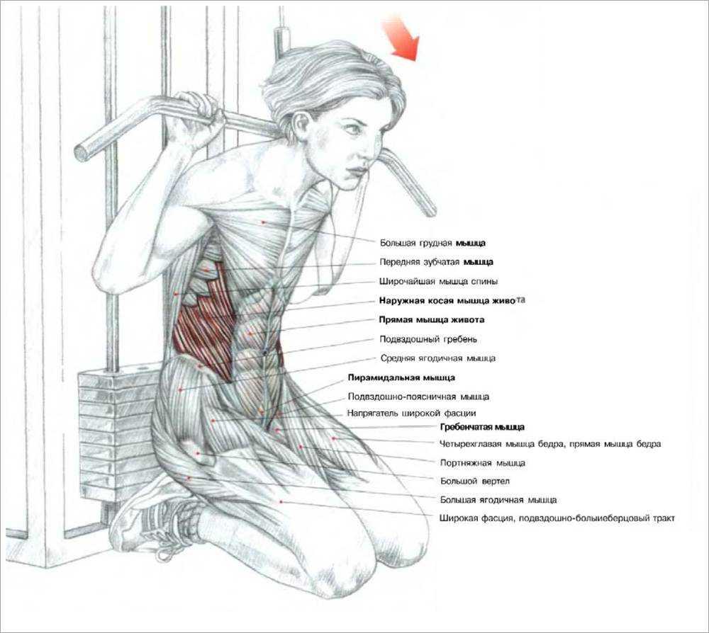 Упражнение дровосек на блоке, с гирей и гантелью: работа на пресс