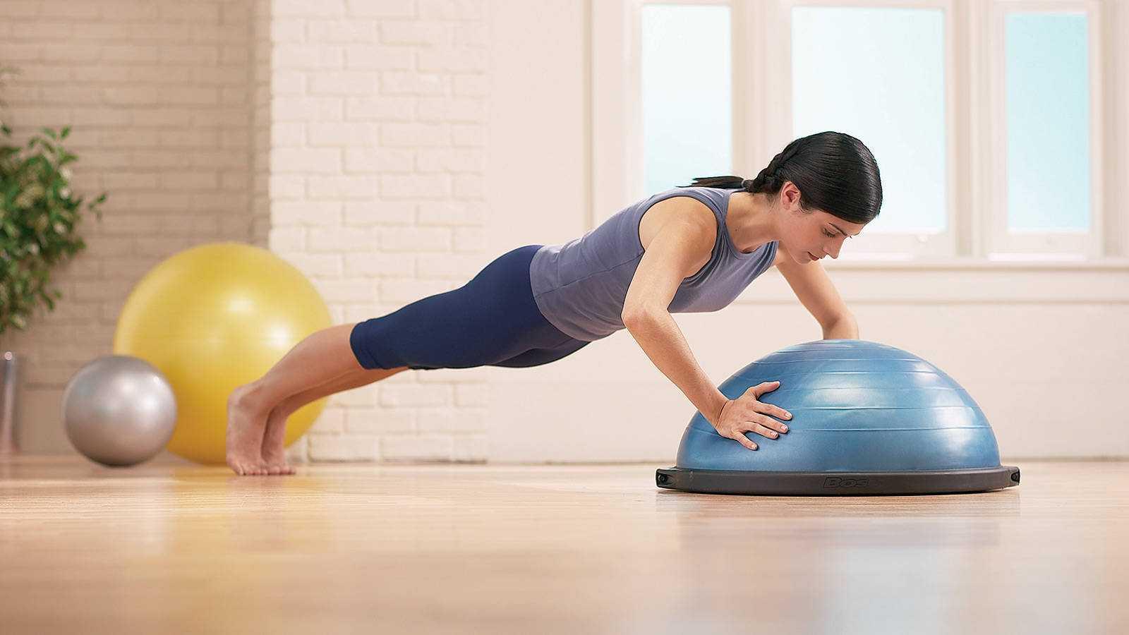 Босу фитнес: комплекс упражнений на платформе полусфера