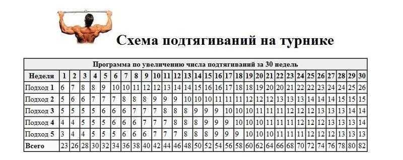 Программа подтягиваний с нуля на турнике: таблица для начинающих
