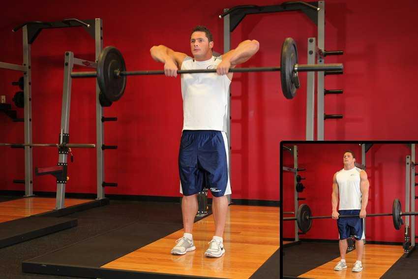 Тяга штанги к подбородку широким и узким хватом: тренинг в разных вариантах и техниках
