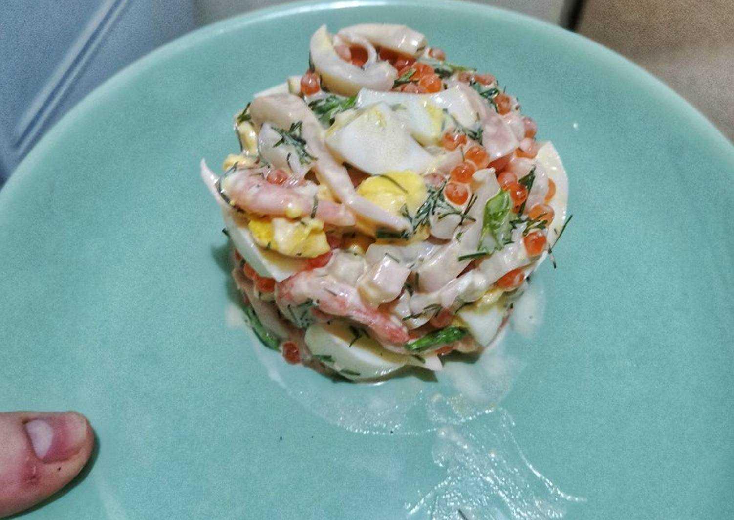Морской салат с креветками и кальмарами - 24 домашних вкусных рецепта