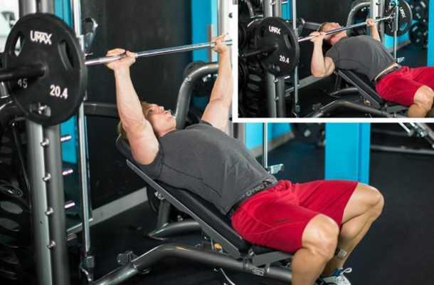 Жим штанги лежа на наклонной скамье позволяет проработать конкретные участки грудных мышц Выполнение под углом 30, 45 и 60 градусов, а также головой вниз