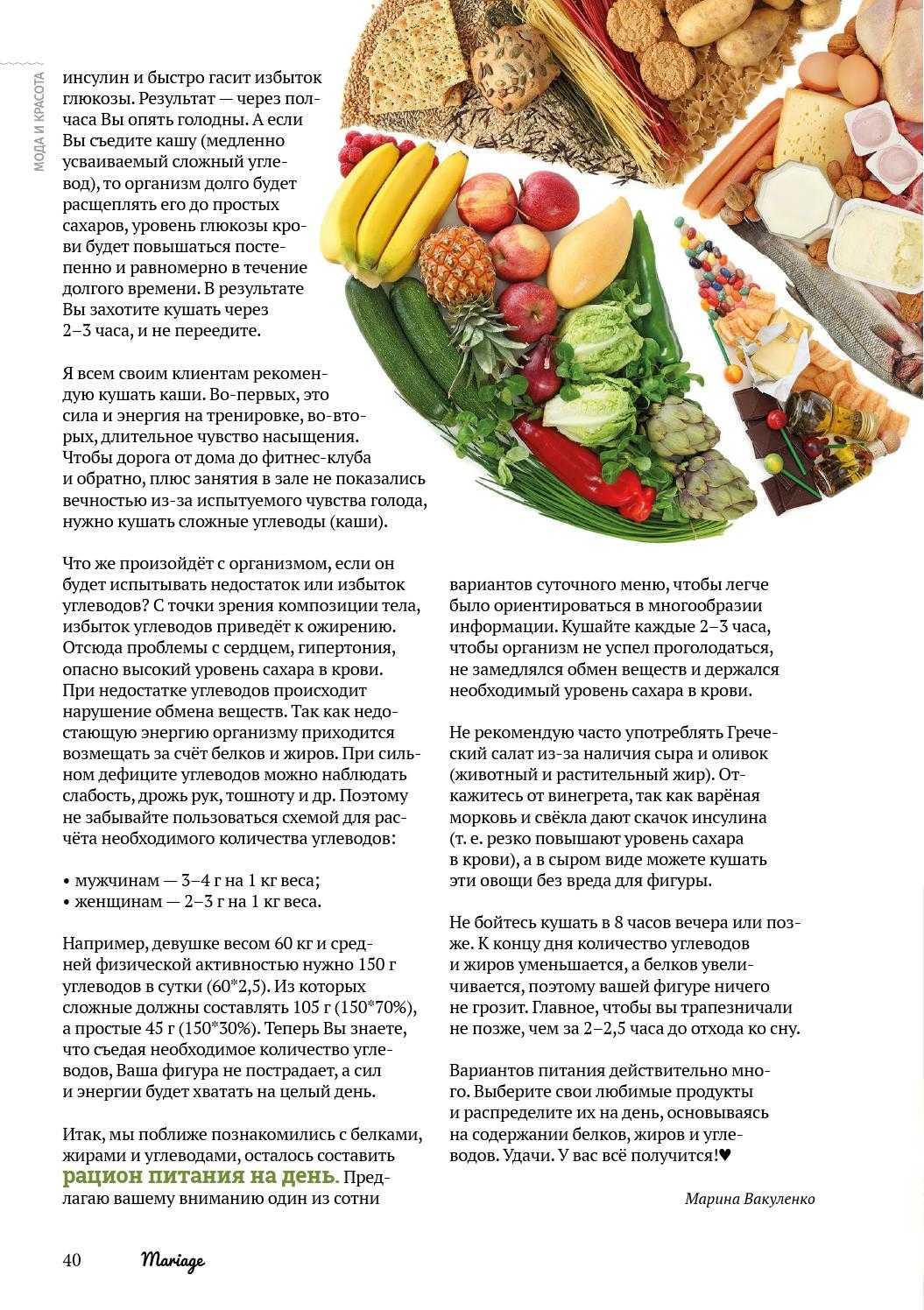 Сложные углеводы - список продуктов для похудения в таблице