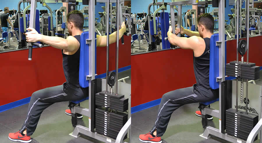 Разведение рук в тренажере для тренировки мощных дельт