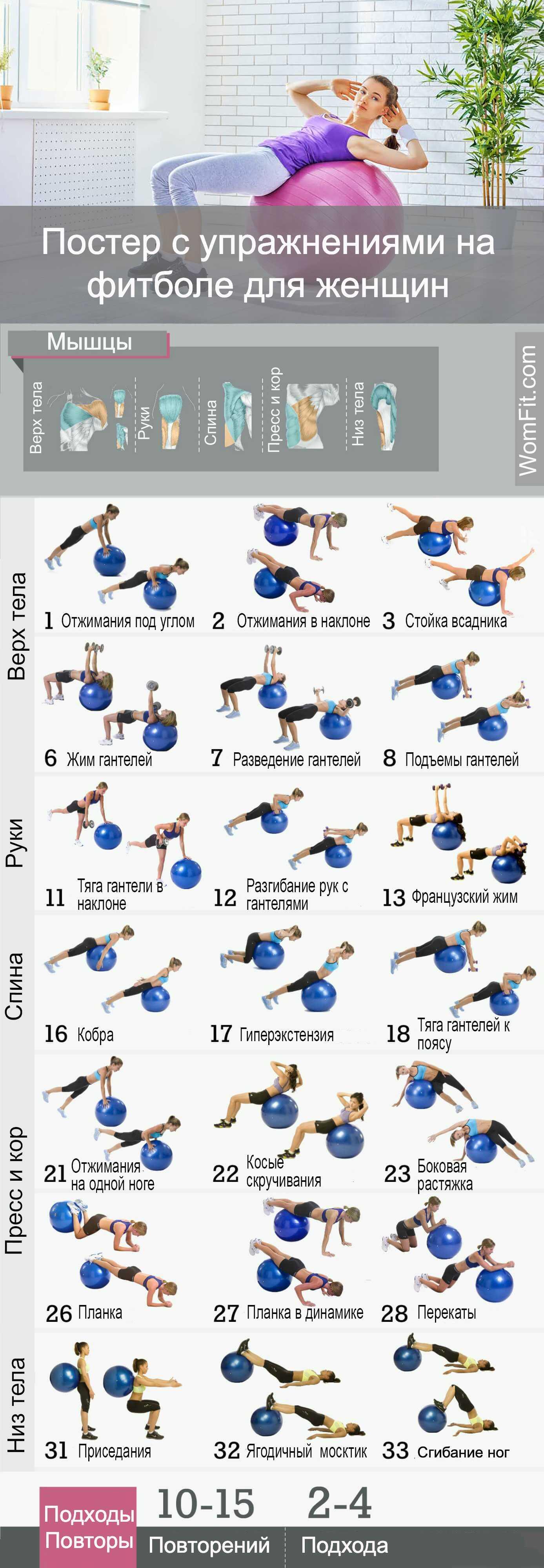 Обзор эффективных упражнений с фитболом для похудения, полезные советы