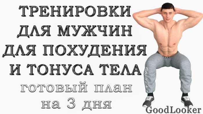 Это план тренировок для мужчин на похудение и тонус тела в домашних условиях на 3 дня: без инвентаря и для укрепления мышц всего тела (с гифками)