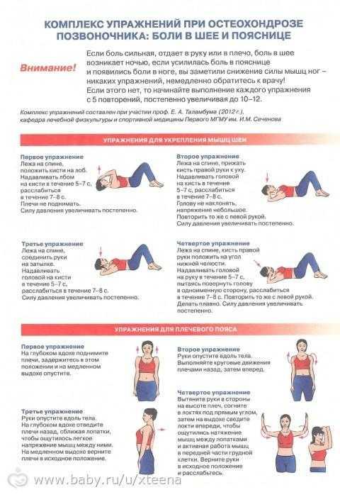 Гимнастика при остеохондрозе шейного-грудного отдела позвоночника